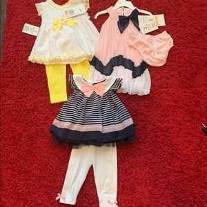 3 sets 12 month baby girl dress outfits